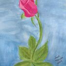 Pink Rose Watercolor Painting by janetmarston