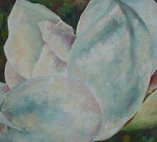 Magnolia Green - oil on canvas 30 x 30 cm by Deborah Green