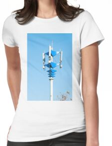Blue and white Mobile Phone Communications Tower  Womens Fitted T-Shirt