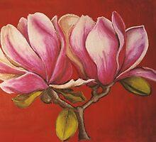 Magnolia Rustica Rubra - pastel on paper, 30 x 21 cm approx by Deborah Green