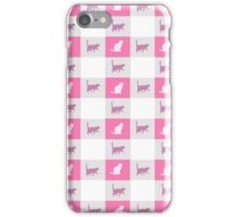 Vintage pink cats silhouette checkered pattern iPhone Case/Skin