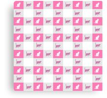 Vintage pink cats silhouette checkered pattern Canvas Print