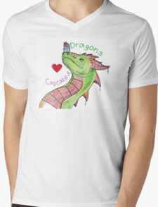 Dragons love Cupcakes! With words Mens V-Neck T-Shirt