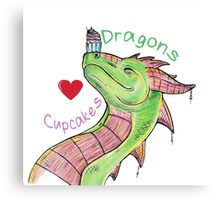 Dragons love Cupcakes! With words Canvas Print