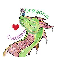 Dragons love Cupcakes! With words Photographic Print