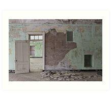 Abandoned crumbling hospital Art Print