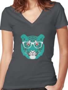 Bookish Big Cat Women's Fitted V-Neck T-Shirt