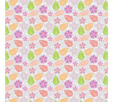 Vintage girly pink orange abstract floral pattern  Photographic Print