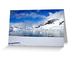Icebergs and mountains of Cuverville Island near Antarctic Peninsula Greeting Card