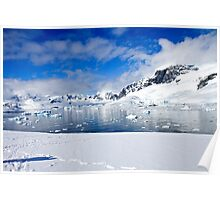 Icebergs and mountains of Cuverville Island near Antarctic Peninsula Poster