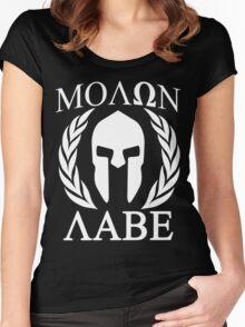 Molon Labe Grunge Spartan Funny Geek Nerd Women's Fitted Scoop T-Shirt