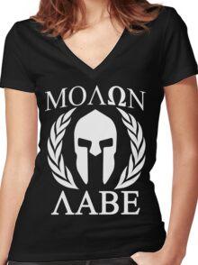Molon Labe Grunge Spartan Funny Geek Nerd Women's Fitted V-Neck T-Shirt
