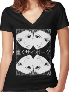 "Ghost In The Shell Arise ""Heavily Cyborg"" Women's Fitted V-Neck T-Shirt"