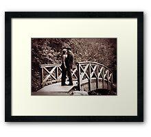 Romance on the Kissing Bridge Framed Print