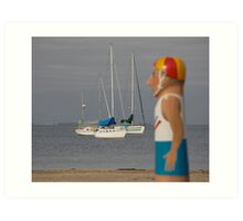 seascapes #174, bollards & yachts  Art Print