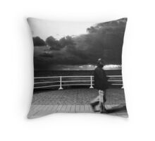 promenade with man aberystwyth wales Throw Pillow