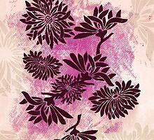 Peonies (black on pink) by Sybille Sterk