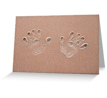 Handprint in the sand on a beach  Greeting Card