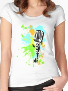 Old Skool Microphone Women's Fitted Scoop T-Shirt