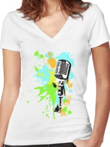 Old Skool Microphone Women's Fitted V-Neck T-Shirt