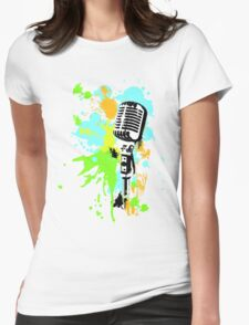 Old Skool Microphone Womens Fitted T-Shirt