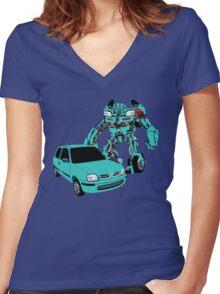 Nissan Micra Transformer Women's Fitted V-Neck T-Shirt