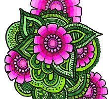 Pink and green floral design by simransavadia