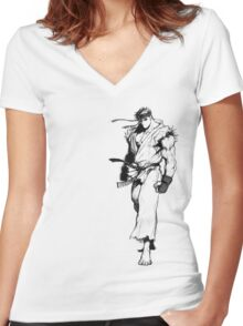 Ryu Portrait Women's Fitted V-Neck T-Shirt