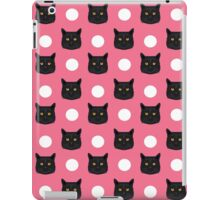 Black Cat polka dots pastel pink girly cat lady hipster gift kitten cat person customizable cat gift iPad Case/Skin