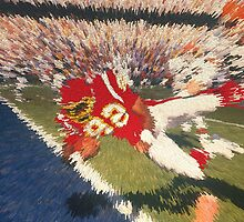 Digital Art Image of Football Player Leaping into the Endzone by Diane Johnson