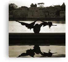 Yoga at the Lake's Edge Canvas Print