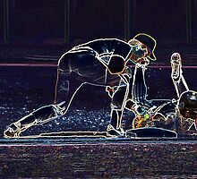 Digital Art Image of Baseball Player Tagging Base Runner at First Base by Diane Johnson
