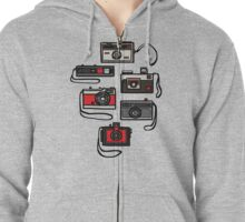 Vintage Cameras Zipped Hoodie