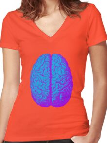 Psychedelic Brain Women's Fitted V-Neck T-Shirt