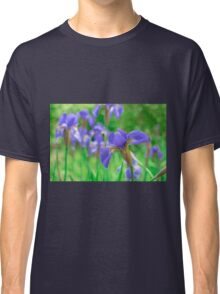 Group of purple irises in spring sunny day Classic T-Shirt
