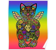 Maneki Neko Angel Lucky Black Cat Poster