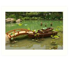 Twin Boats Docked in Hong Kong Park Art Print