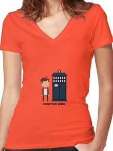 Dr Who Mini-figure  Women's Fitted V-Neck T-Shirt