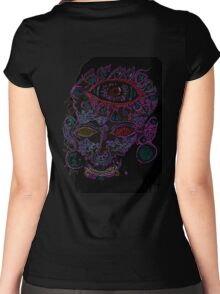 Psychedelic Third Eyed Jesus Neon Women's Fitted Scoop T-Shirt