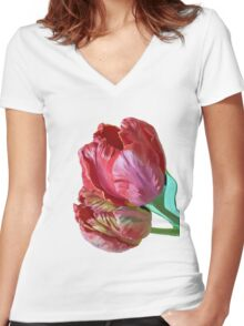 Two Red Tulips Vector Isolated Women's Fitted V-Neck T-Shirt