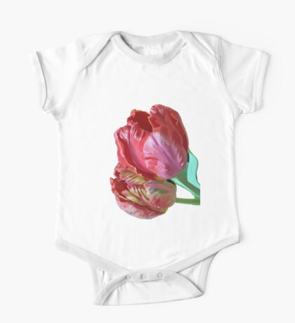 Two Red Tulips Vector Isolated One Piece - Short Sleeve