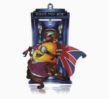 Doctor Cartoons Parody with england flag One Piece - Short Sleeve