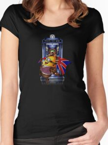 Doctor Cartoons Parody with england flag Women's Fitted Scoop T-Shirt