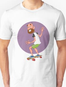 man on long board. Unisex T-Shirt