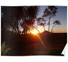 Sunrise over Glass House Mountains Poster