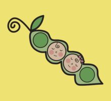 Baby Boy + Girl Twins Peas in a Pod T-shirt by fatfatin