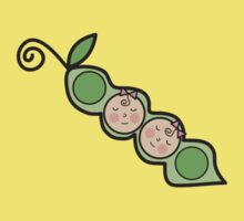 Baby Girl Twins Peas in a Pod One Piece - Short Sleeve