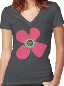 Pink Daisy Pop Women's Fitted V-Neck T-Shirt