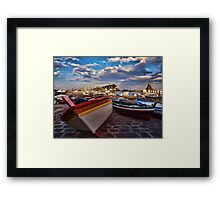 Boats  at the port of Acitrezza, Sicily Framed Print