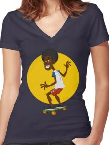 dude on long board. Women's Fitted V-Neck T-Shirt